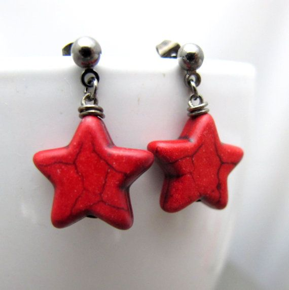 Red Star Stud Earrings // Deep Red Howlite Stars by boxofcutestuff