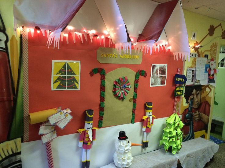 Christmas bulletin board, Santa's workshop
