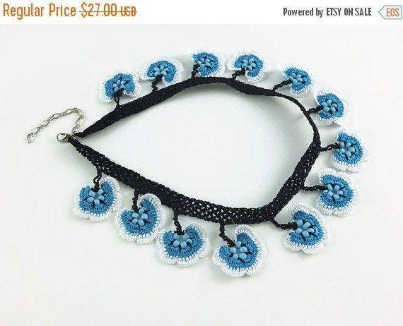 SALE 20% Crochet Necklace Blue And White Oya Lace Flowers Crochet Necklace Crocheted Jewelry Turkish Oya Beaded Choker Necklace Statement Kn