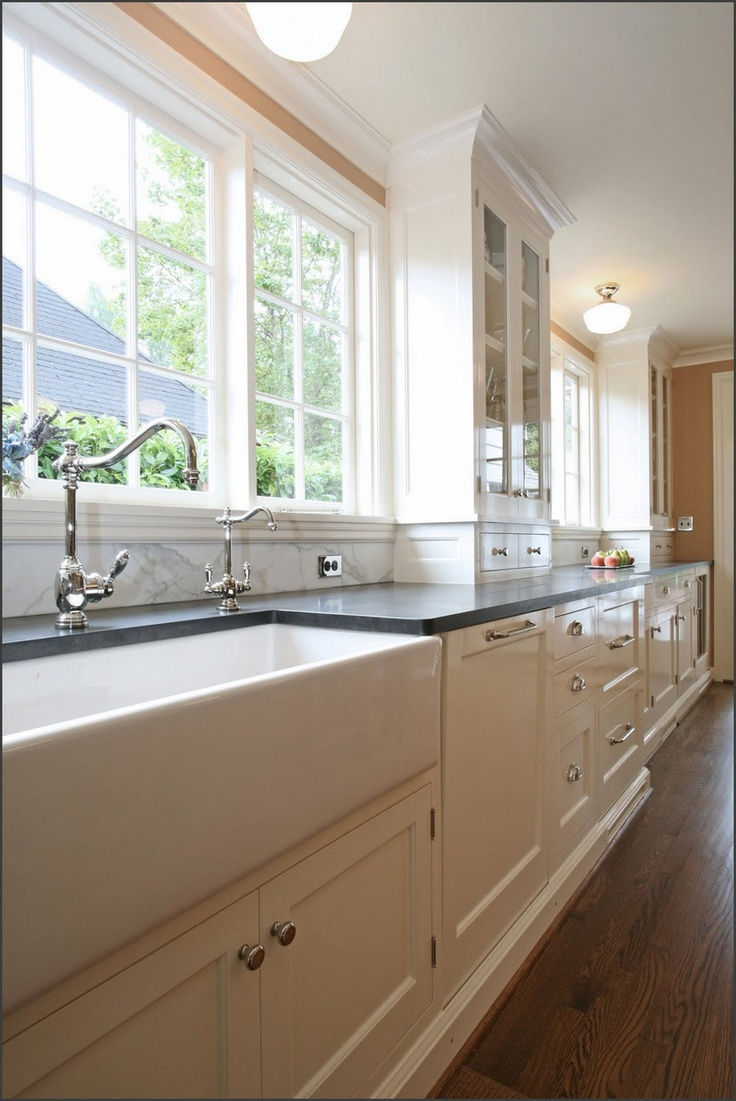 1937 Colonial Kitchen Remodel Featuring An Apron Sink And A Calacatta Backsplash Kitchens
