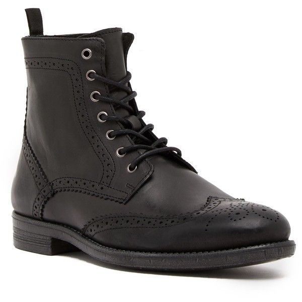 Robert Wayne Jacques Wingtip Leather Boot (€32) ❤ liked on Polyvore featuring men's fashion, men's shoes, men's boots, mens lace up boots, mens leather lace up shoes, mens wingtip shoes, mens leather shoes and mens wingtip boots