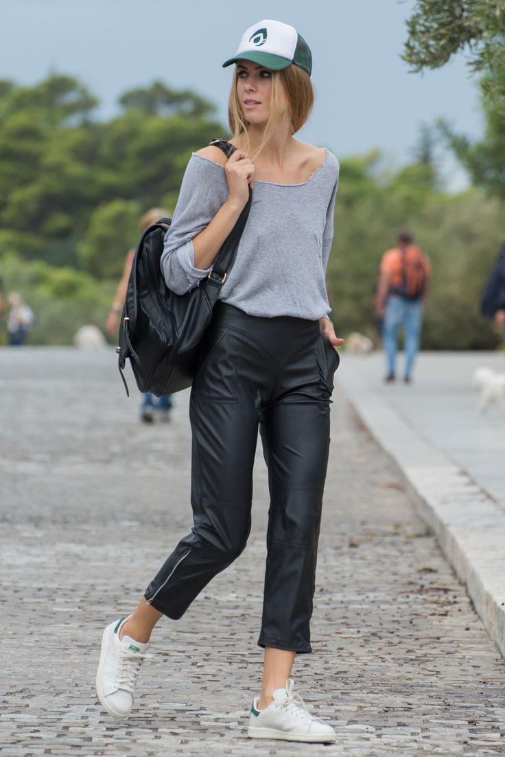 By nadia rapti, leather pants , gray t-shirt