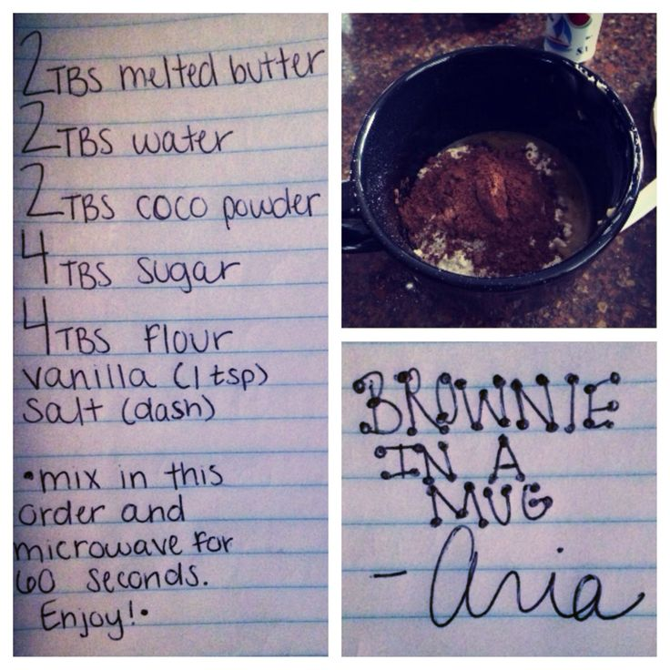 """My amazing """"Brownie in a Mug"""" recipe. I like a molten center! Let me know what y'all think(:"""
