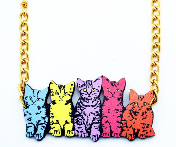 Row of Kitties #cat #necklace by Love Ikandi, a Queensland based business. All jewellery is designed and made in Australia.