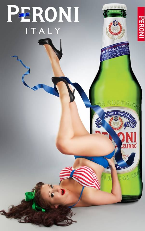 Dollhouse Photography #retro #pinup #legs #up #pose #bottle #beer #peroni #italian #italy