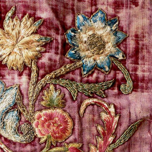 Italian baroque banner 17th century silk and metal embroidery thread on velvet