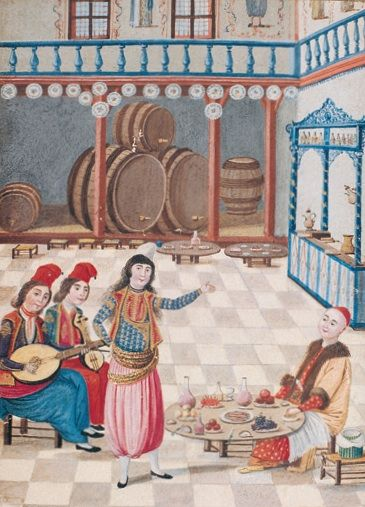 İstanbul'da bir meyhanede müzik dinleyerek içki içen mirasyedi. Lavta ve kemençe eşliğinde  şarkı söyleyen (belki de rakseden) bir tavşan. 1793-94. Hubannâme-Zenannâme, İÜ Küt. 5502, y. 41a.