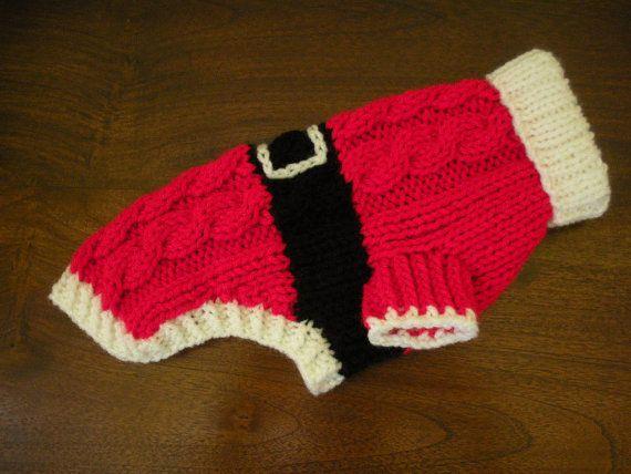 Santa perro suéter Cable Knit Navidad por bychancedesigns