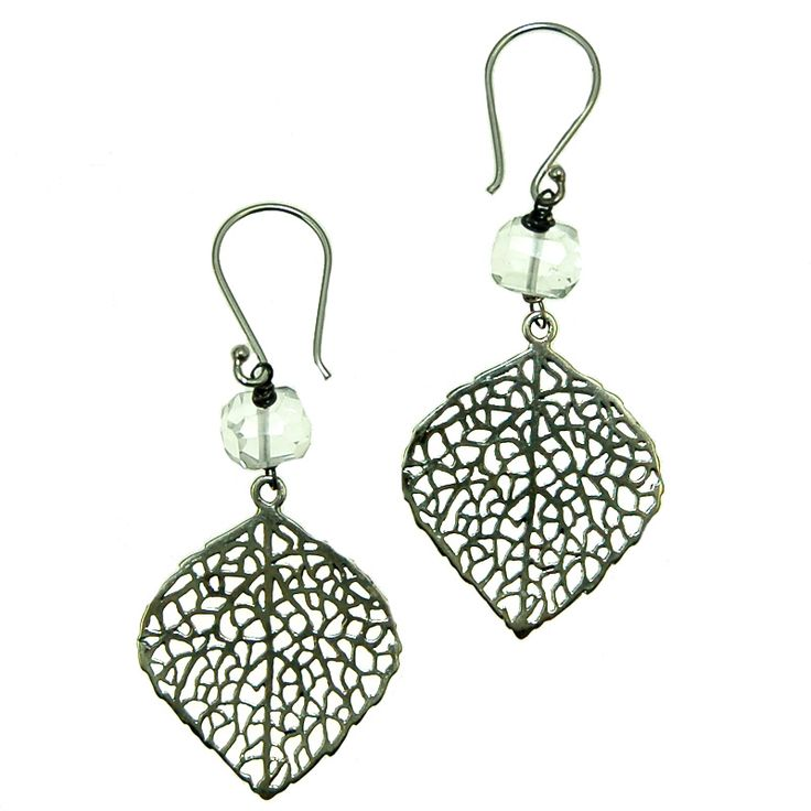 Clear Quartz with sterling Silver Leaf Earrings (E2035R) $100