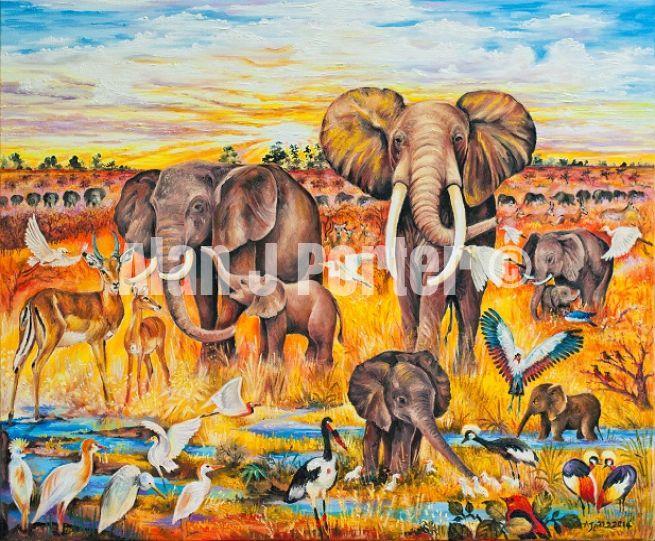 #alanjporterart #kompas #art #animals #elephants #birds #africa #sky #nature #originaldesign #oil #beautifulcolors #sun