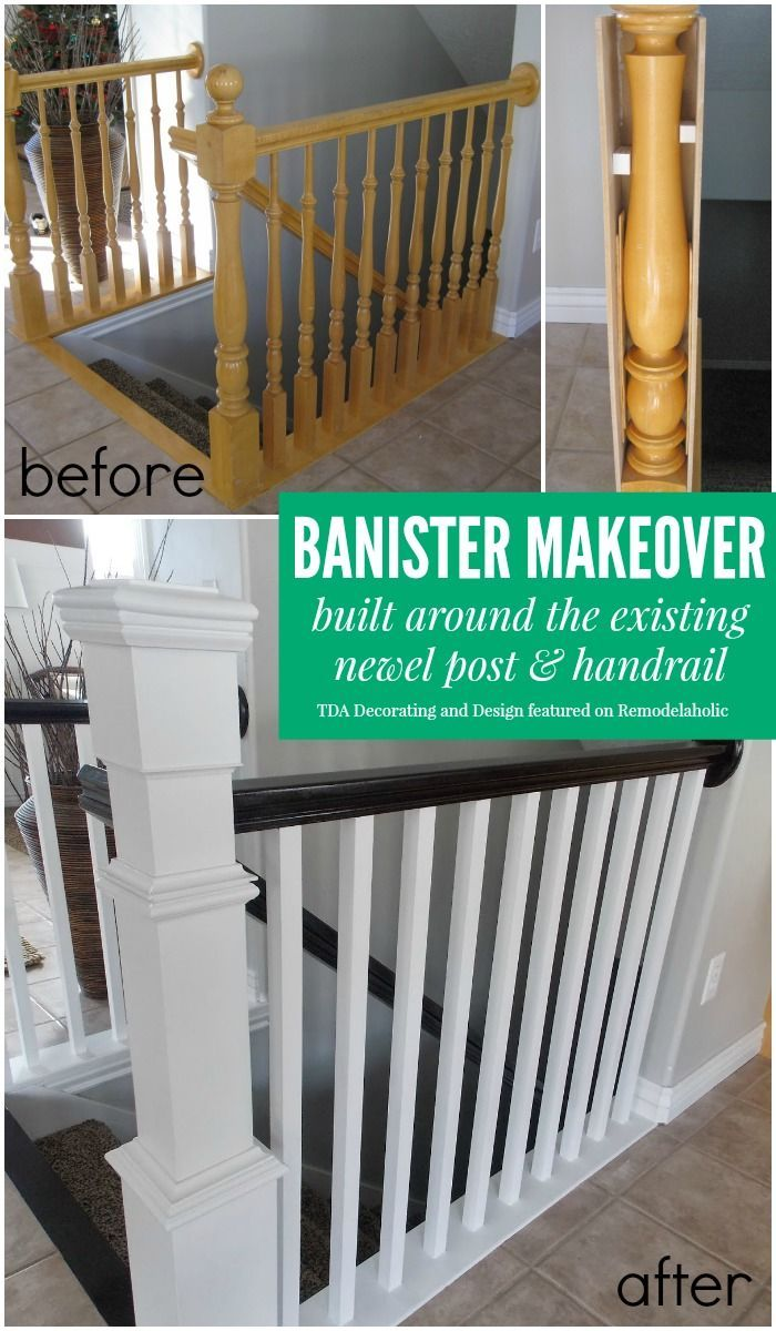 Beautiful stair railing renovation using the existing newel post and handrail | TDA Decorating and Design featured on /Remodelaholic/ #makeover #staircase