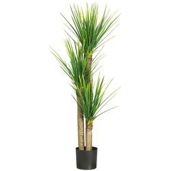 Add a pop of Southwestern style to your decor with this stunning faux yucca plant. This towering beauty stands nearly 6 feet tall with 3 robust trunks and lush green leaves.