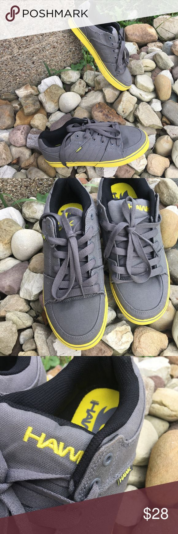 Tony Hawk Gray Yellow Skater Shoes Loafers Flats Tony Hawk Original Skate Shoes. Size 7.5 Men's. Good condition! Comfort fit. Gray with yellow accents. Lace up flat Loafers. Originally $115! Tony Hawk Shoes