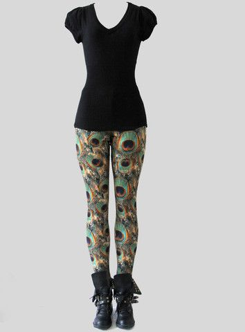 VELVET SOFT LUXURY PEACOCK LEGGINGS  Beautiful Leggings in soft premium stretch velvet featuring vibrant peacock prints.