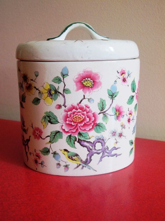 James Kent Old Foley 'Chinese Rose' cannister by JulesetVianne, £8.00