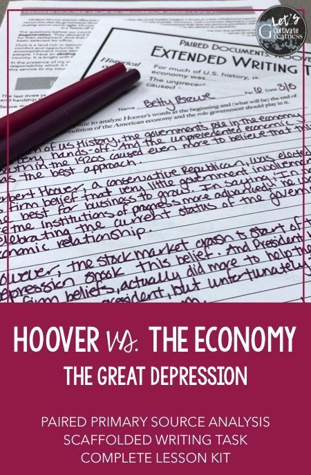 Great Depression Hoover Paired Primary Source Extended Writing