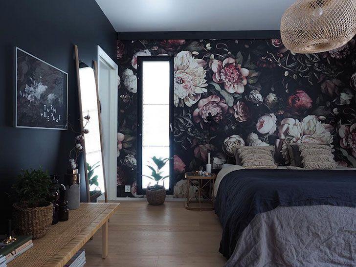 Bright Apartment In Finland With A Dark Floral Bedroom Dizajn