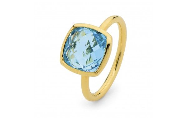 Fancy cushion cut blue topaz ring, set in 9ct yellow gold.  Also avaliable in Green Amethyst, and Purple Amethyst.