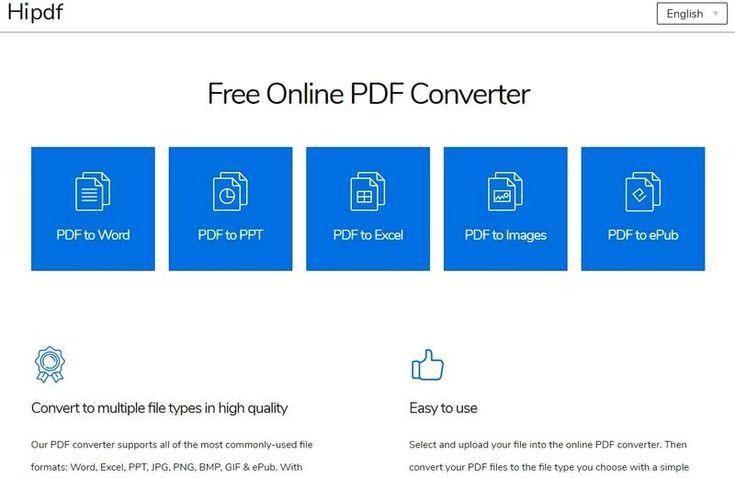 Hipdf es una página gratuita que reúne diferentes herramientas online para convertir documentos PDF a otros formatos de archivos.