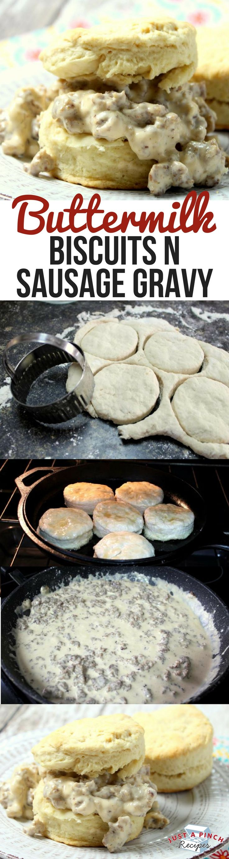 Easy homemade buttermilk biscuits and sausage gravy recipe! This is ready in just 35 minutes!