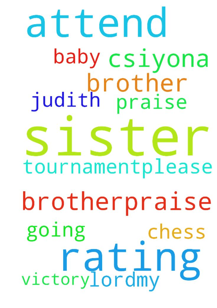 Dear brother,praise the lord,my sister,s - Dear brother,praise the lord,my sister,s baby c.siyona Judith is going to attend rating chess tournament.please pray for her to get victory .thank you. Posted at: https://prayerrequest.com/t/TPV #pray #prayer #request #prayerrequest