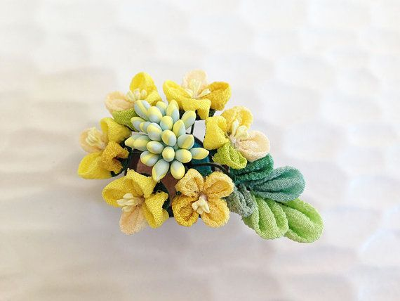 Hey, I found this really awesome Etsy listing at https://www.etsy.com/listing/182835078/japanese-hair-clip-brooch-rape-blossoms