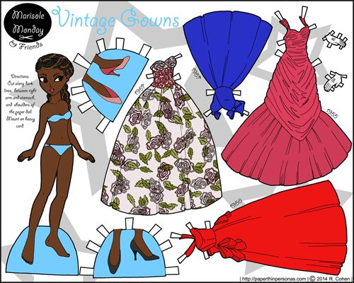 Marisole Monday in stylish braids shows off her vintage gown wardrobe. Print the paper doll from the blog. :)