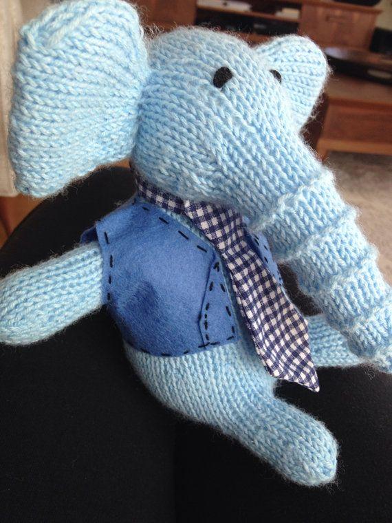 Blue Handsome Knitted HANDMADE Stuffed Elephant by HobbyJoyDesign, $25.00