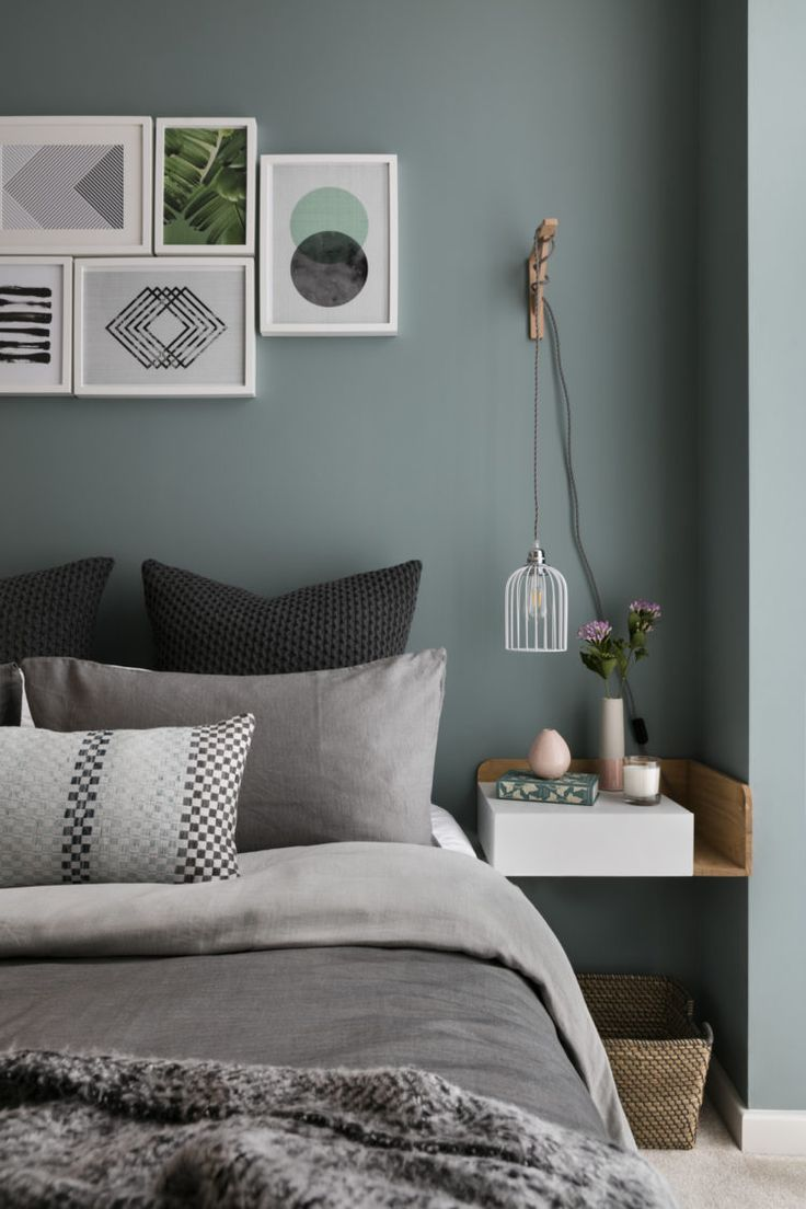 blue green and grey bedroom