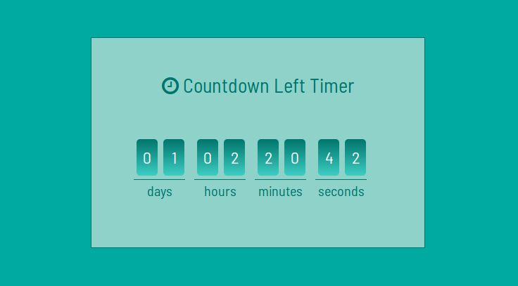 Example of How to create countdown timer and clock usign javascript ?. link:https://www.nicesnippets.com/snippet/how-to-create-countdown-timer-and-clock-usign-javascript #example #html #css #design #create #javascript #timer #countdown #snippets