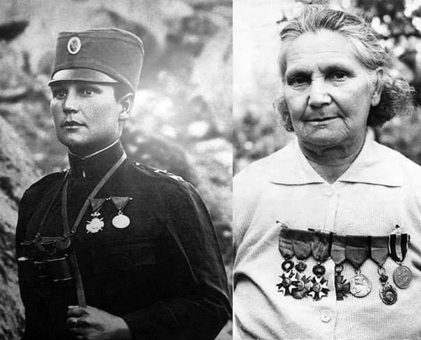 Милунка Савич (Милунка Савић), Сербия.  Во время Первой Мировой войны переоделась мужчиной и ушла на фронт добровольцем. Воевала под именем Милун. Только при ранении в госпитале врачи узнали, что она женщина. После ранения осталась в армии. Сражалась в Железном полку. Девять раз была ранена. Во время битвы на Черне в одиночке захватила в плен 23 болгарских солдата. За смелость дважды была награждена орденом Почетного легиона, орденом Карагеоргиевской звезды с мечами, Георгиевским крестом…