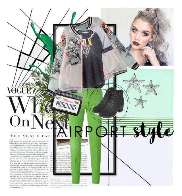 """Airport Style"" by shasasoso on Polyvore featuring Stop Staring!, prAna, Betsey Johnson, Nearly Natural, Jacob Cohёn, Topshop and Moschino"