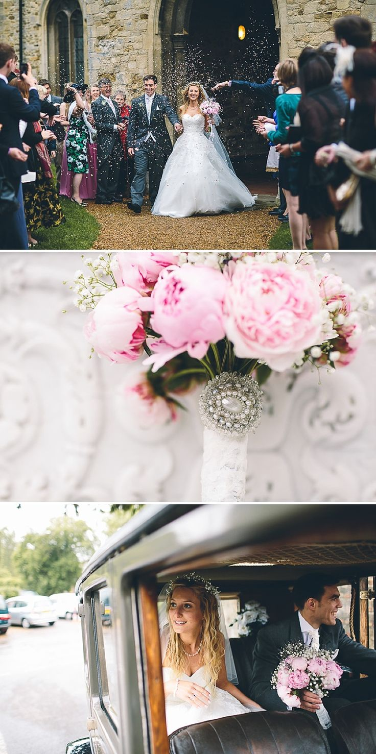 Church Wedding In Cambridge Reception at Anstey Hall Bride in Toscana by White One With Dusky Pink Bridesmaids Gowns And Pink Peony Bouquet ...