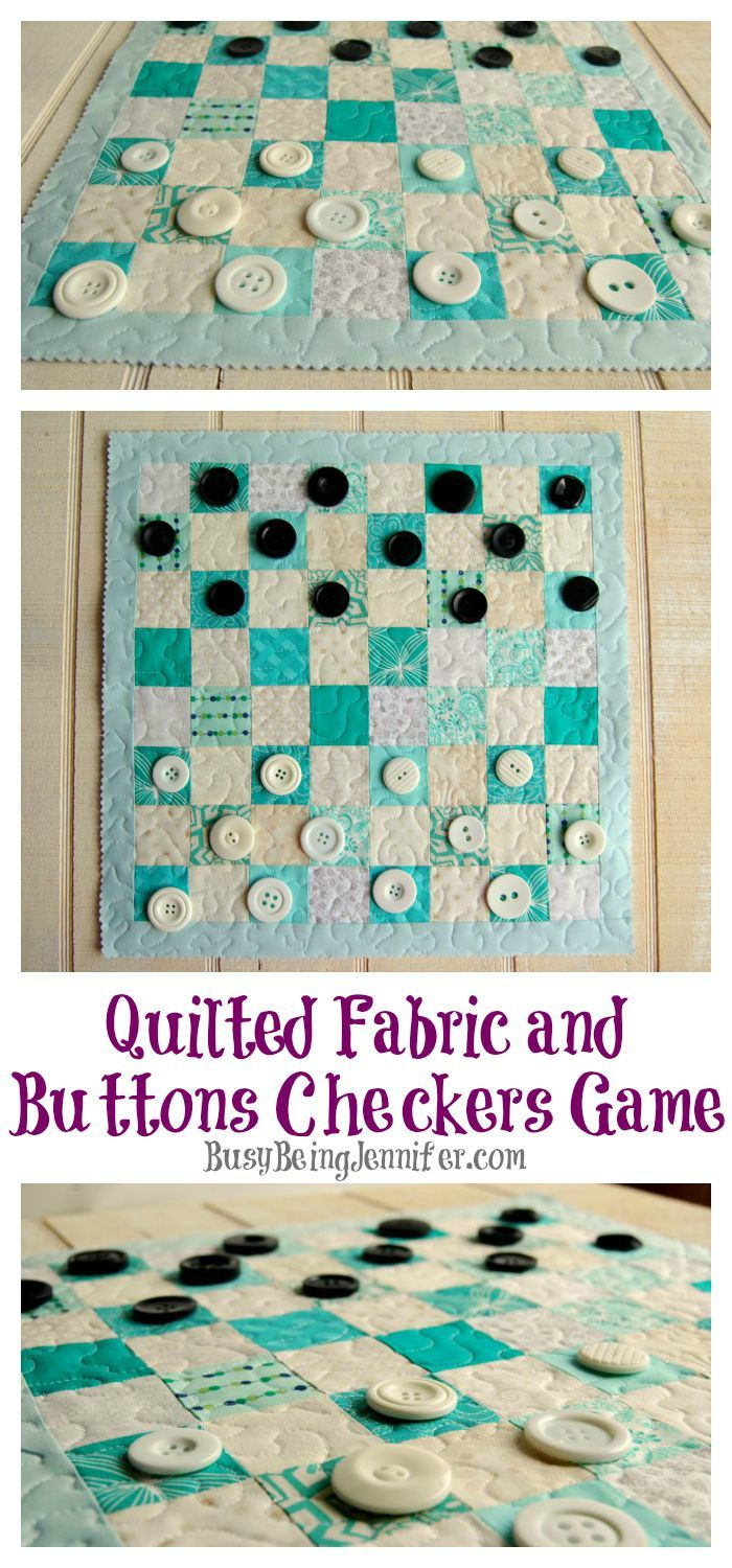 This quilted fabric checkers game board is SO easy to make, and a lot more fun…