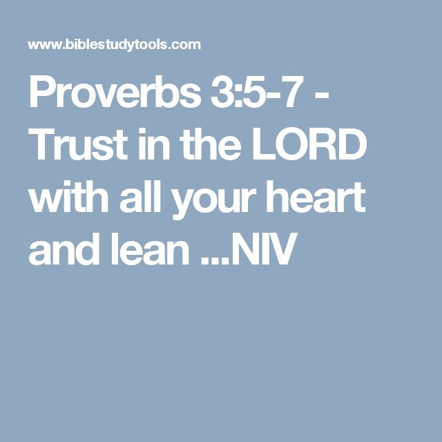 Proverbs 3:5-7 - Trust in the LORD with all your heart and lean ...NIV