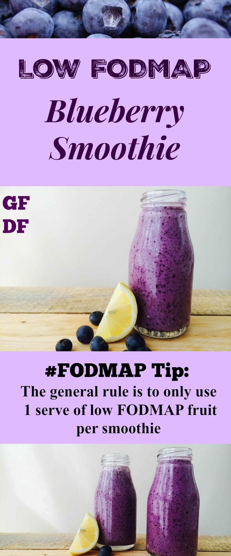 Looks amazing! Low #FODMAP Blueberry Smoothie via @ALittleBitYummy #IBS For more dietitian approved Low FODMAP recipes see here http://rmdietetic.com/category/low-fodmap-recipes/