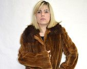 Real sheared nutria fur jacket with fox collar
