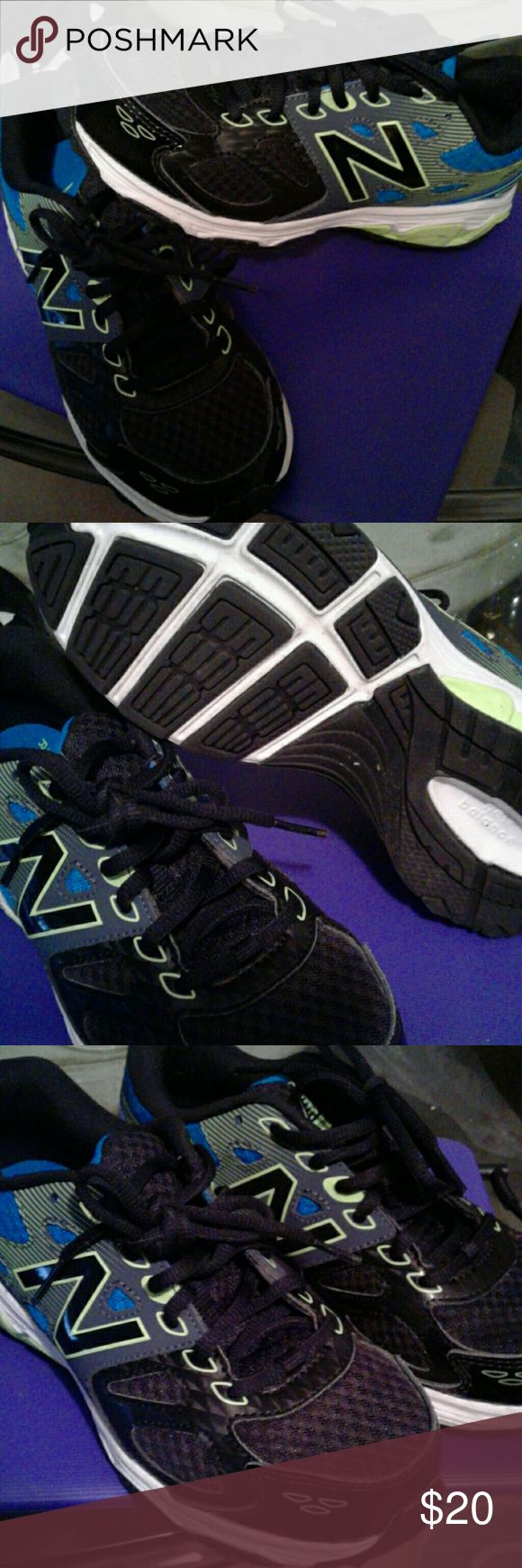 NEW BALANCE Kids black, neon green and royal blue. Black laces. New Balance Shoes Sneakers