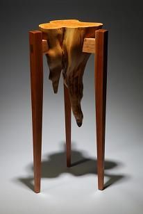 """""""Cypress Knee"""" Display Table: one of the most unusual petite tables that I have created."""