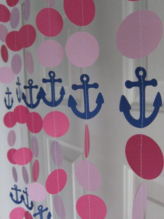 Paper Garland Anchor Decorations Beach Birthday por SuzyIsAnArtist