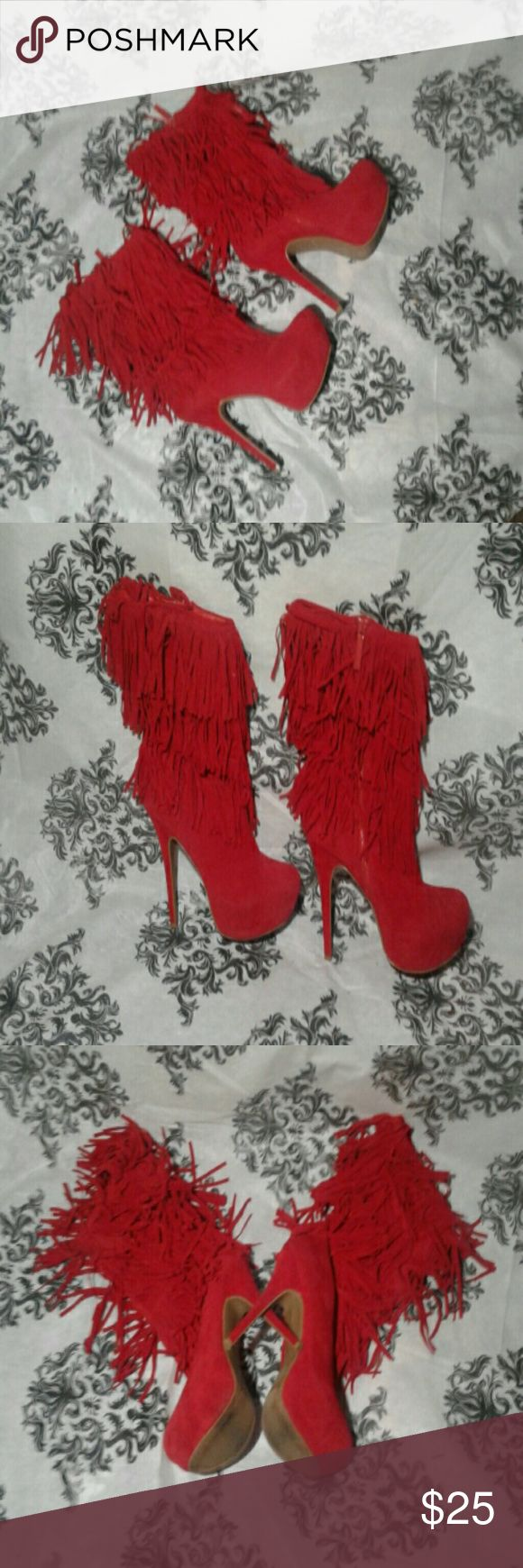 ONCE LOVED ALBA RED PLATFORM  HEELS ONCE LOVED ALBA RED PLATFORM HEELS WITH FRINGE GREAT CONDITION WORN ONCE THESE BOYS ARE TAKING SEXY TO A WHOLE NOTHER LEVEL DEFINITELY AN EYE CATCHER Alba Shoes Platforms