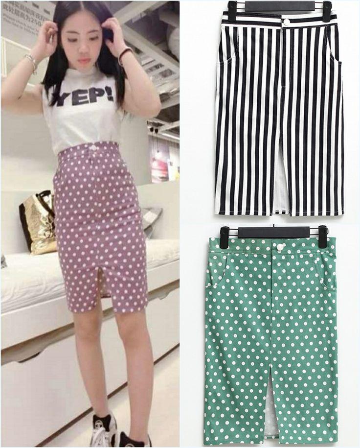 Корейский Тондэмун полосатые юбки талия была тонкой сплит горошек Юбка - Taobao