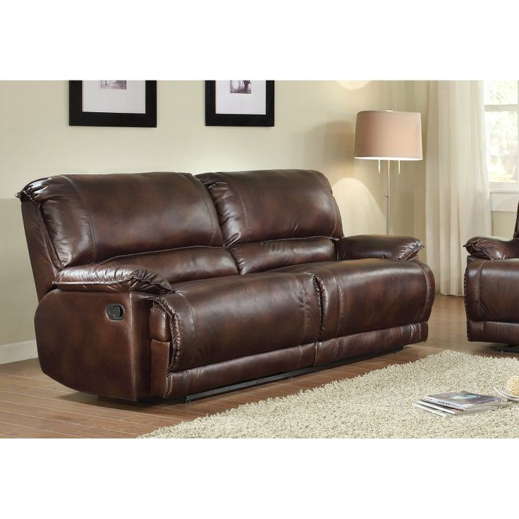 FurnitureMaxx Elsie Double Reclining Sofa In Bronzed Leather Looking  Polished Microfiber : Sofas
