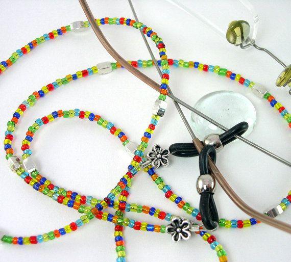 Lente cadena, rocallas Mini, hecho a mano, lente titular, perlas multicolores, lente cadena on Etsy, $228.49