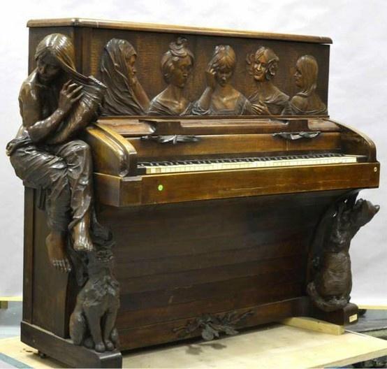 Rupert Carabin (1862-1932) Piano, 1900  Sculpted Wood kinda creepy, kinda cool.