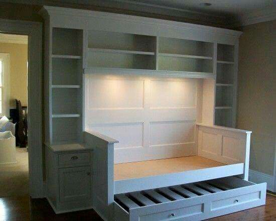 Idea for a multipurpose room library/guestroom.