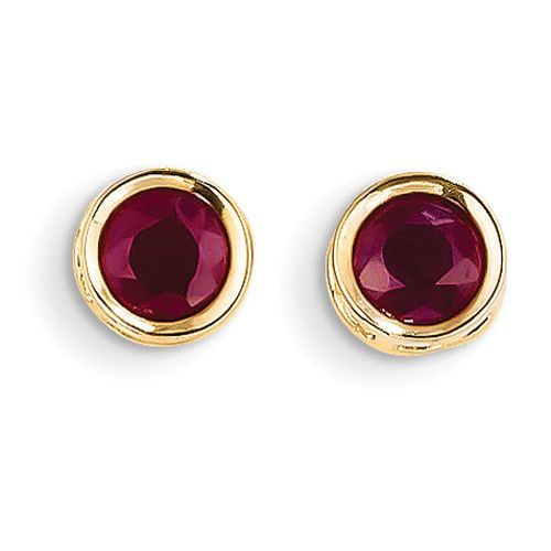 14k 5mm Bezel Ruby Stud Earrings – Goldia.com