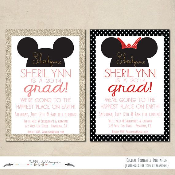 104 best disney graduation party! images on pinterest | graduation, Birthday invitations