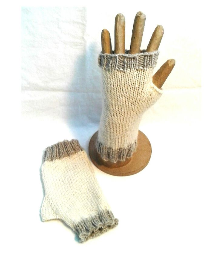 Cream and Grey Fingerless Gloves - Mint by Design
