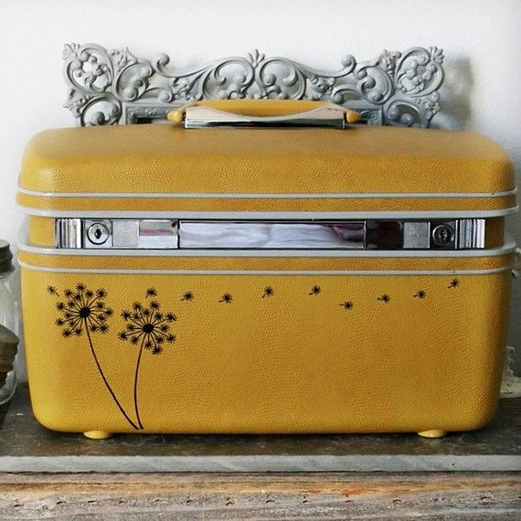 vintage train case with added dandelions -- so pretty! love the color and the dandelions.